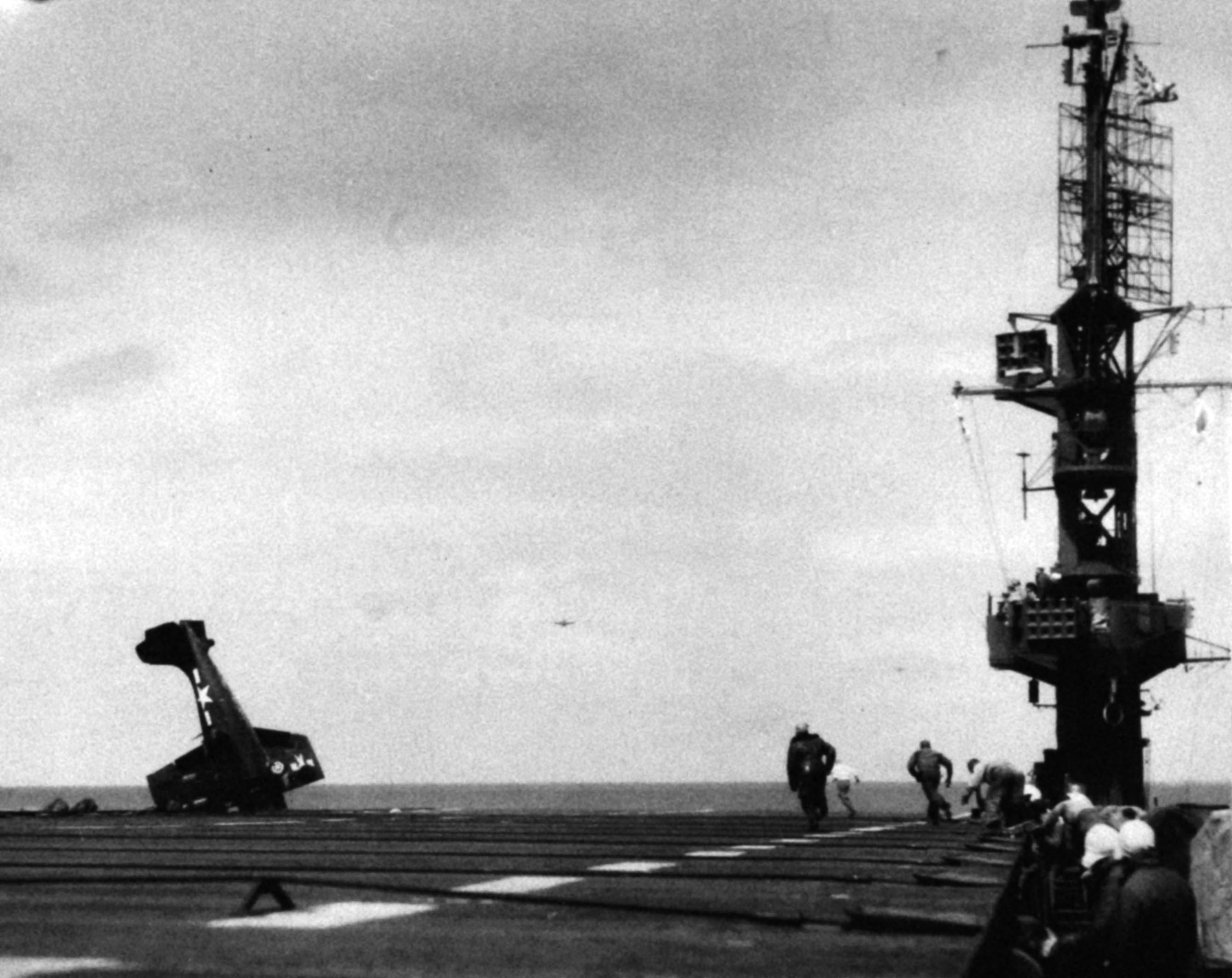 FM 2 Wildcat going over the side after a landing mishap 01