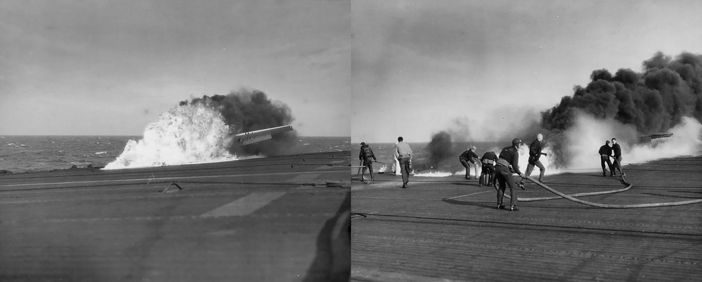 FM 2 Wildcat landing mishap and fuel tank explosion being tackled by USN carrier fire fighters 01