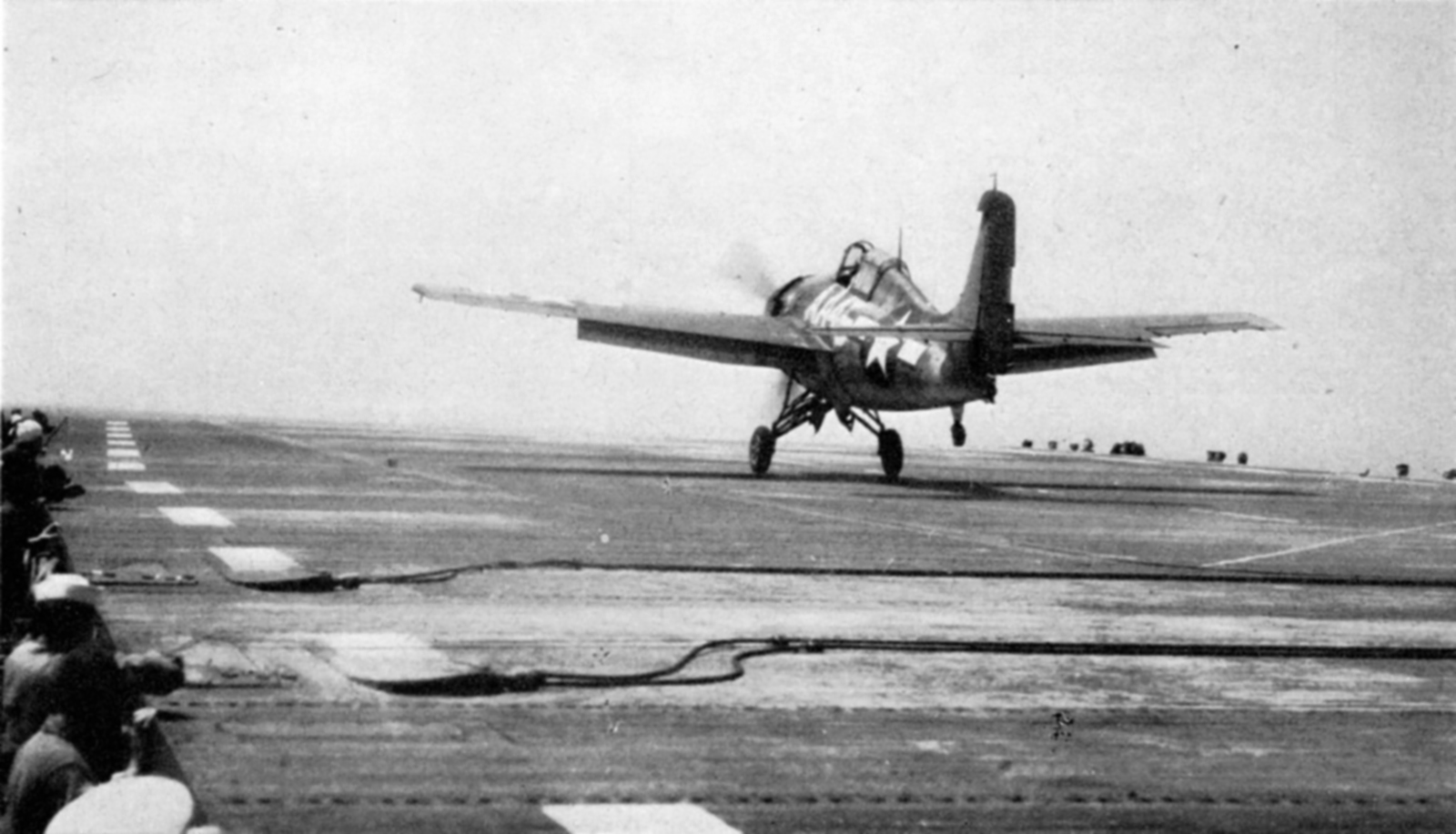 FM 2 Wildcat taking off with right rudder to prevent cross wind 01