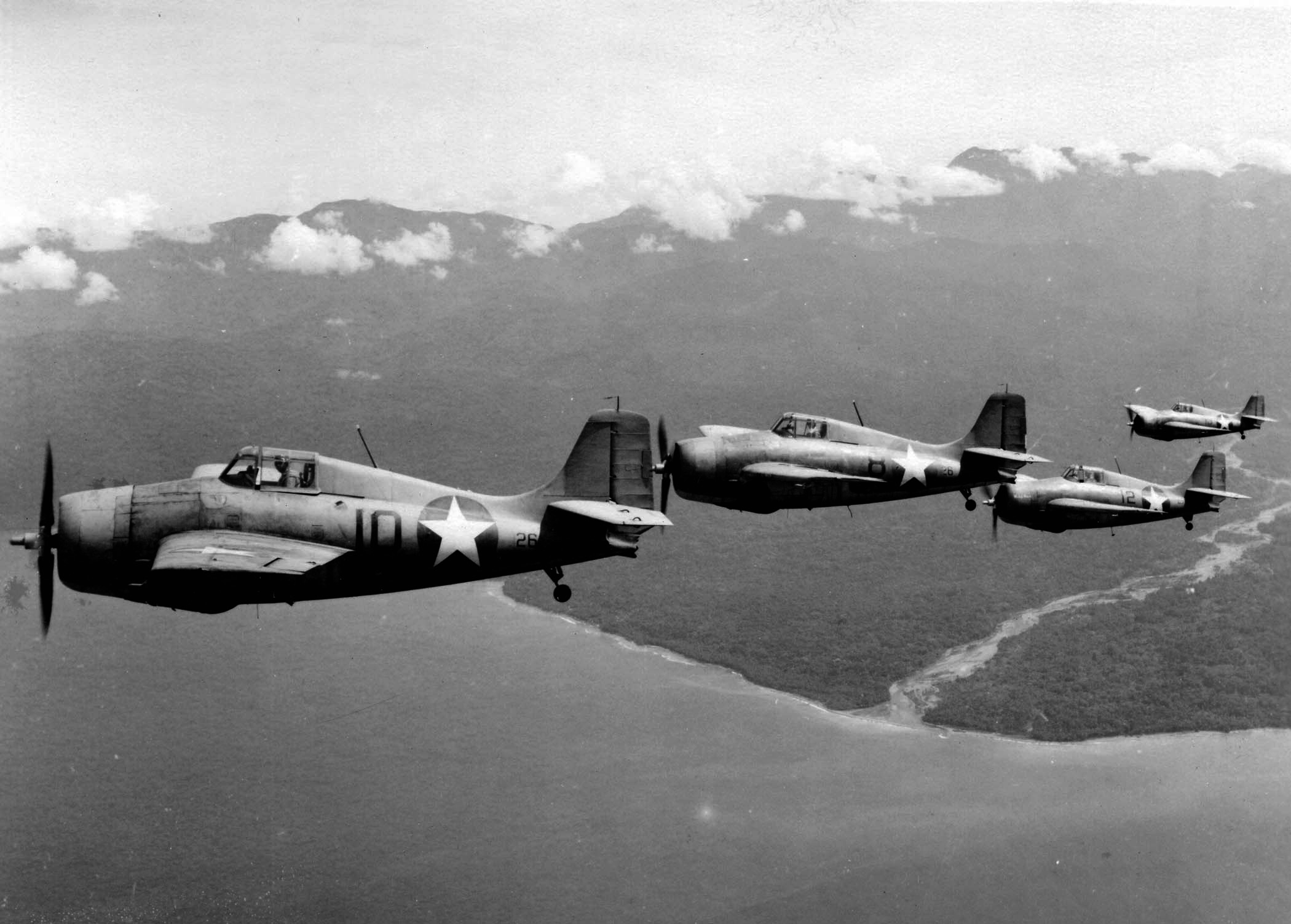 Grumman F4F 3 Wildcat VGF 26 Black 1026, 826, 1226 and 1326 Southern Solomon Islands c 1942 01