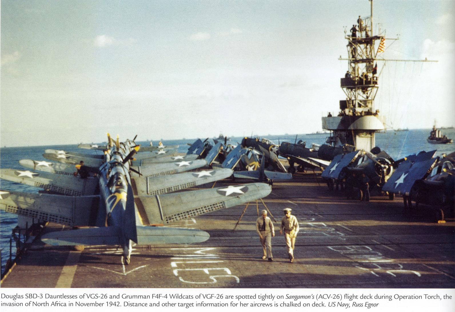 Grumman F4F 4 Wildcat VGF 26 Operation Torch ACV 26 USS Sangamon Nov 1942 01