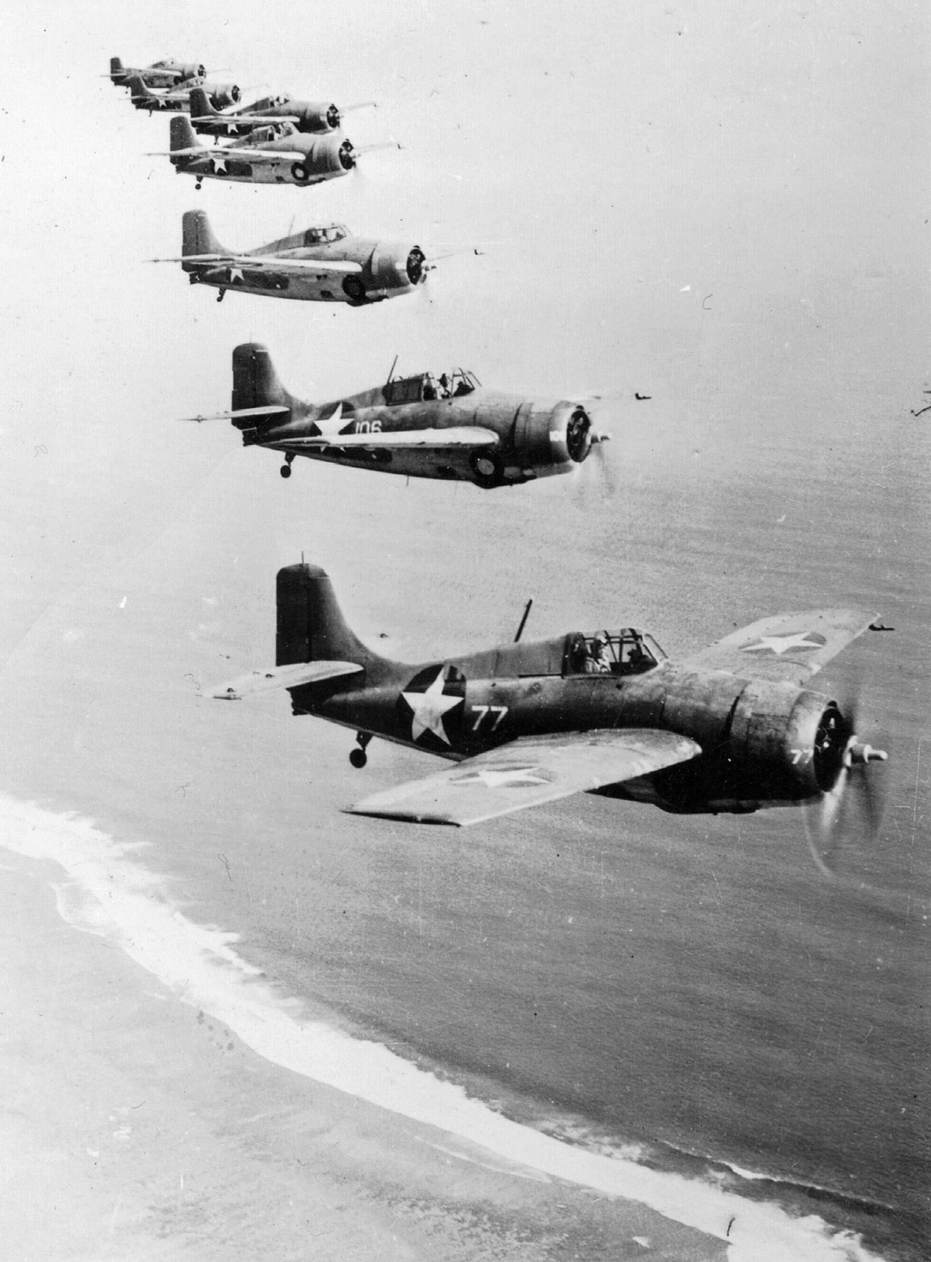 Grumman F4F 4 Wildcat VMF 221 White 77 Lt James Elms Swett who sd 7 Val's over Tulagi 7th Apr 1943 01