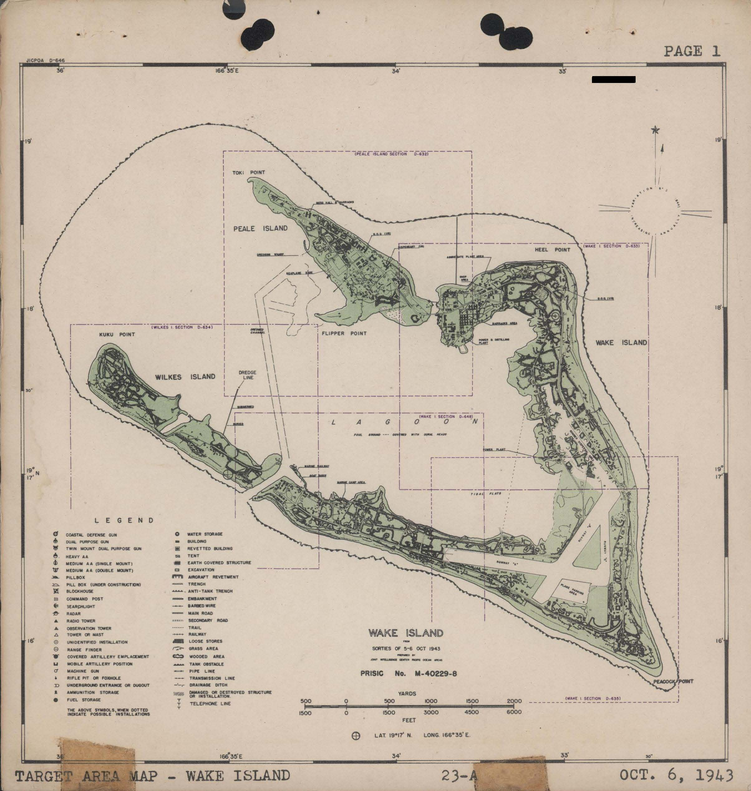 Map of Wake Island 6th October 1943 0A