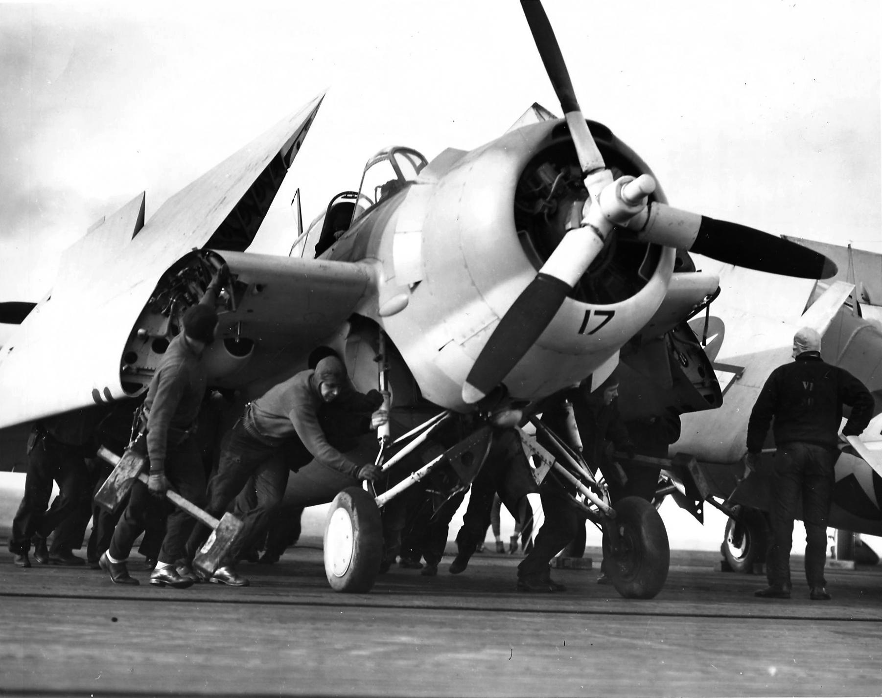 Wildcat Black 17 manpower is needed when winds blow across a carrier's flight deck 30th Apr 1944 01