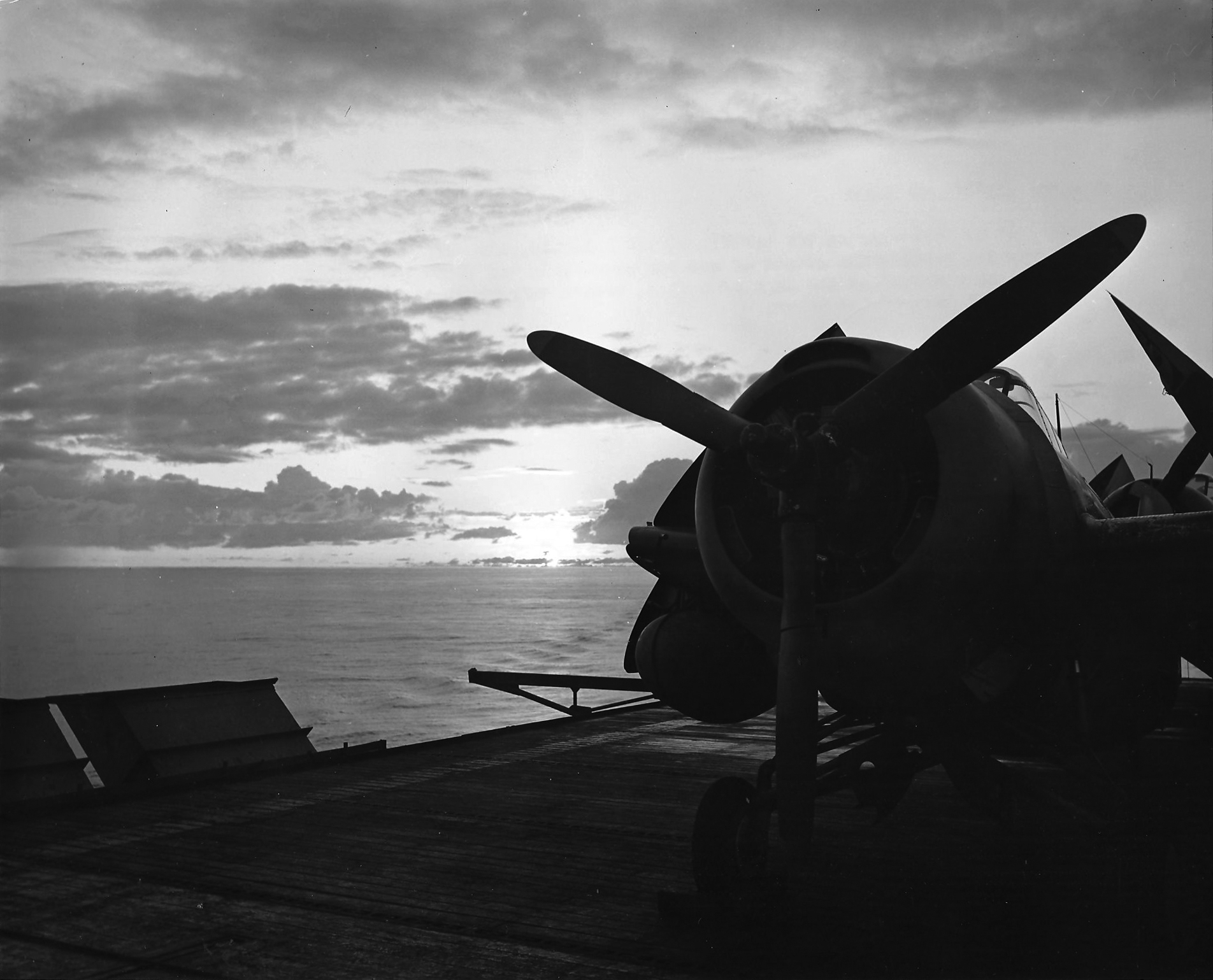 Wildcat high lighted by the morning glory somewhere in the Atlantic 31st Aug 1943 01