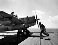 Asisbiz Aircrew Ensign R K Rountree photo series FM 1 Wildcat Black 17 preparing for flight April 1944 02
