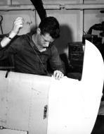 Asisbiz Aircrew Ensign R K Rountree photo series FM 1 Wildcat Black 20 rudder repairs April 1944 01