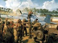 Asisbiz Artwork painting depicting a Grumman F4F 3 Wildcat landing on Wake Island 0A