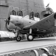 Asisbiz Douglas SBD 3 Dauntless White 38 taxing aboard a USS Carrier Sep 1942 01