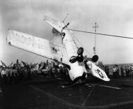 Asisbiz FM 1 Wildcat Black 3 BuNo 16130 landing mishap LTJG Bohlen CVE 60 USS Guadalcanal 30th May 1944 01