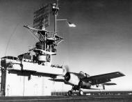 Asisbiz FM 1 Wildcat VC 12 White F9 launching from CVE 69 USS Kasaan Bay 6th Feb 1944 01