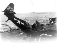 Asisbiz FM 2 Wildcat VC 75 White 23 landing mishap CVE 61 USS Manila Bay 1945 01