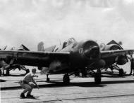 Asisbiz FM 2 Wildcat VC 81 White 17 prepares to take off CVE 62 USS Natoma Bay 1944 01