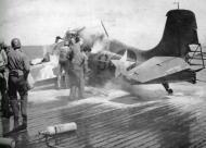 Asisbiz Grumman F4F 4 Wildcat Black 9 landing mishap resulting in a fire 01