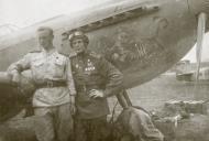 Asisbiz Aircrew Soviet ace Georgii Baevskii (helmet) with Yak 9U 01
