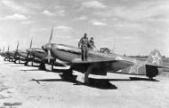 Asisbiz Yakovlev Yak 9D 802IAP 310IAD line up Poltava Kharkiv air defense 1944 01