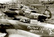 Asisbiz Yakovlev Yak 9T 909IAP 130IAD slogan Maly Theater Belorussian Front 8th Jun 1944 02