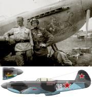 Asisbiz Yakovlev Yak 9U 11GvIAD Silver 36 Georgy A Baevsky (r) Mechanic Sobakin at Sprotau Germany Apr 1945 0A