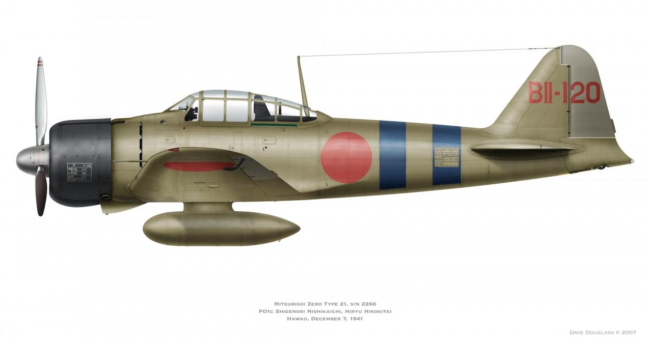 Mitsubishi A6M2 21 Zero JNAF 1st Koku Kantai BII 120 Shigenori Nishikaichi Hiryu 1941 0A