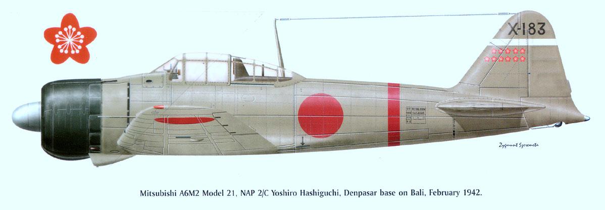 Mitsubishi A6M2 21 Zero JNAF 202Kokutai Hashiguchi X 183 Bali 1942 0A