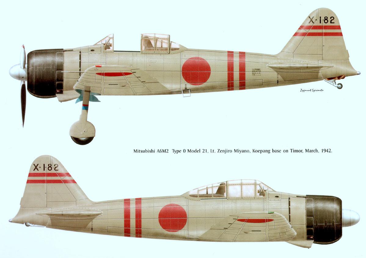 Mitsubishi A6M2 21 Zero JNAF 202Kokutai Miyano X 182 Timor 1942 0A