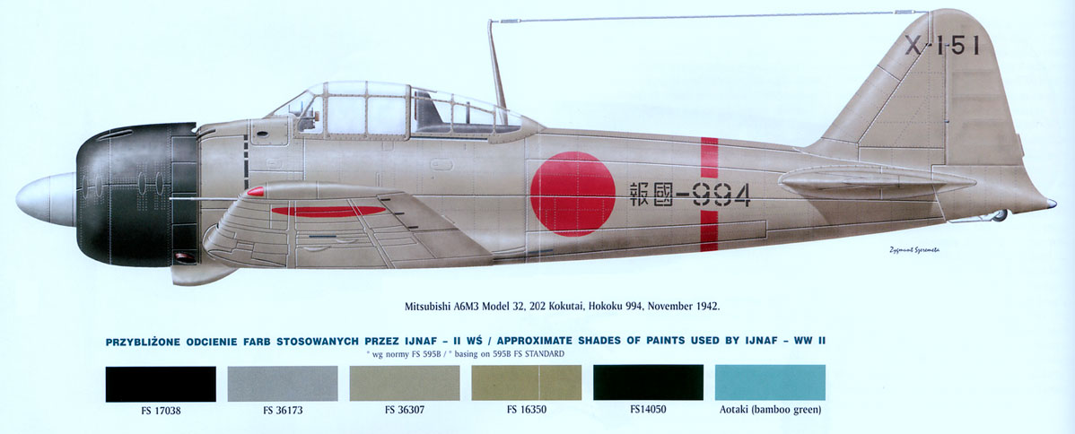 Mitsubishi A6M3 32 Zero JNAF 202Kokutai X 151 Kiyoshi Listopad 1942 0A