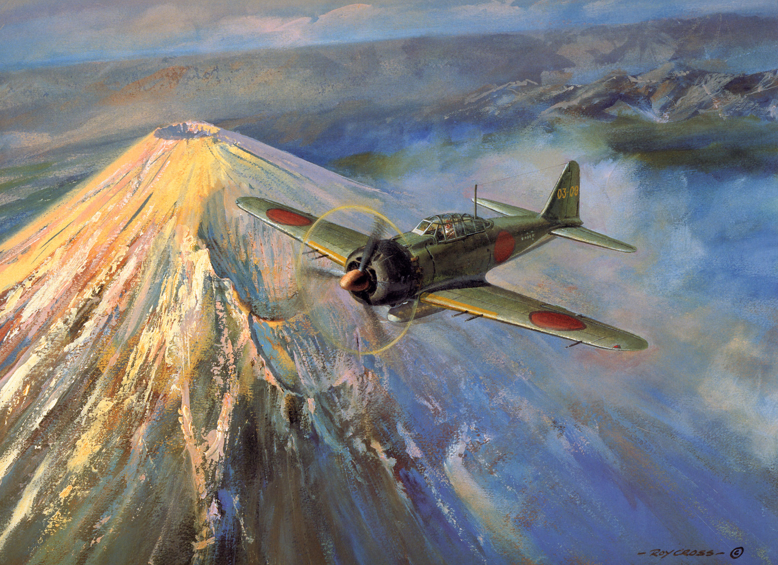 Art painting Roy Cross A6M5a 203 Kokutai 03 09 over Japan 0A