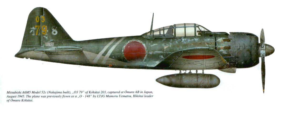 Mitsubishi A6M5c Zero JNAF 203 Kokutai 03 79 Mamoru Uematsu Omura AB Japan 1945 0A