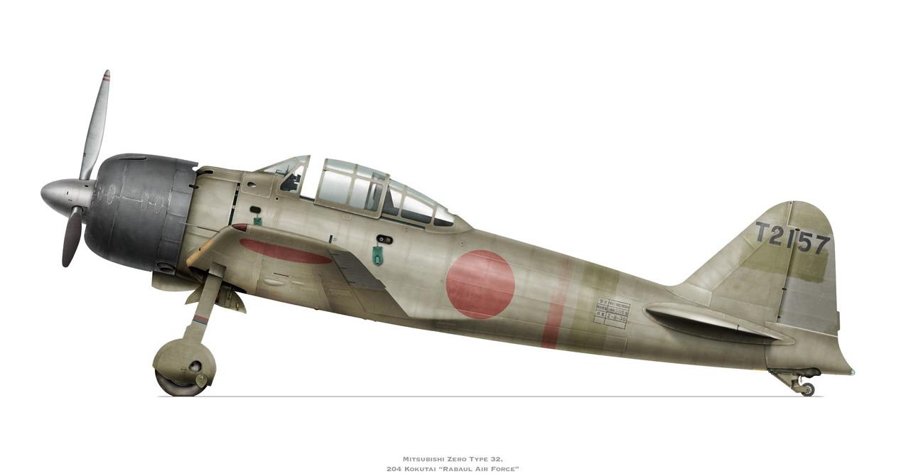 Mitsubishi A6M3 32 Zero JNAF 204 Kokutai T2 157 Rabaul 1943 0A