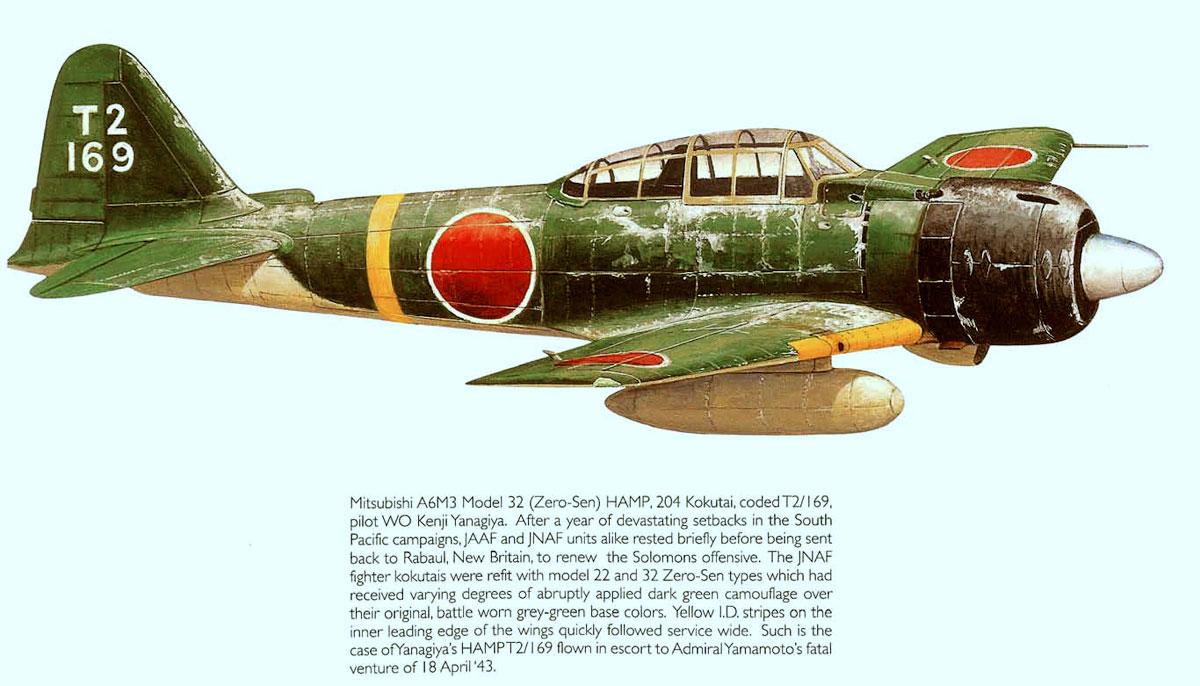 Mitsubishi A6M3 32 Zero JNAF 204 Kokutai T2 169 Kenji Yanagiya Rabaul 1943 0A
