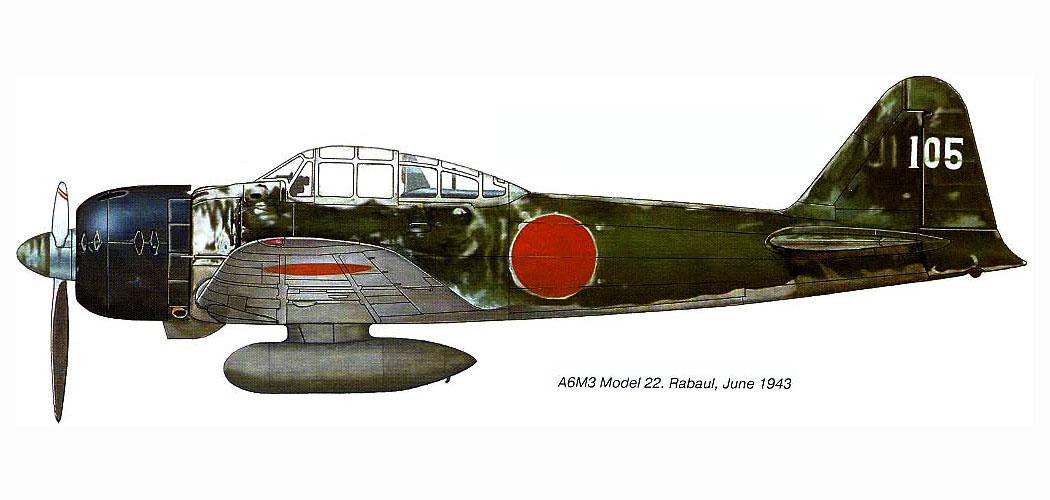 Mitsubishi A6M3 22 Zero JNAF 251 Kokutai UI105 Hiroyoshi Nishizawa Rabaul 1943 0E