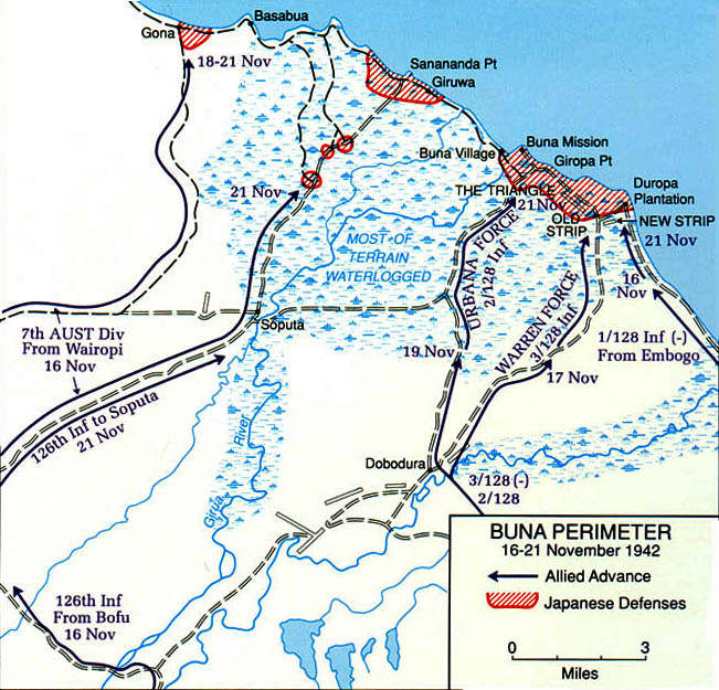 Battle map showing the area of the Battle of Buna Gona Oro Province Papua New Guinea 0A