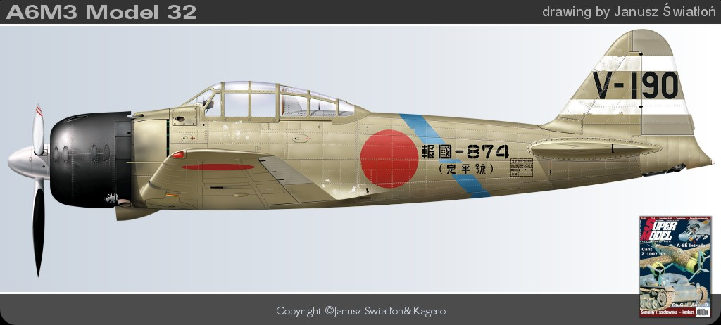 Mitsubishi A6M3 32 Zero JNAF 2nd NAG V 190 HK 874 Buna 1942 0A