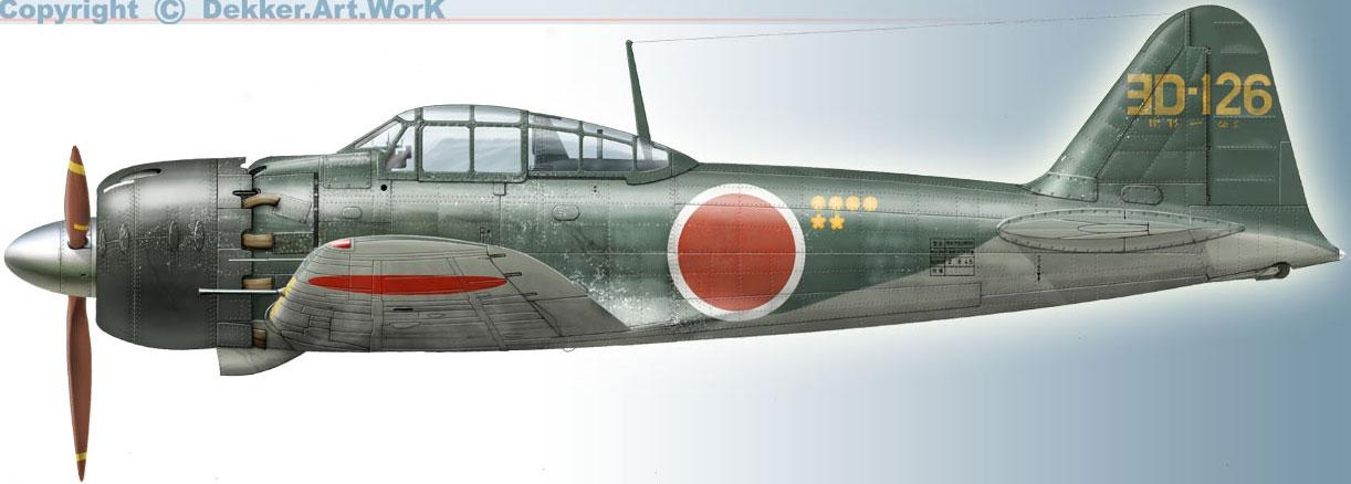 Mitsubishi A6M2 21 Zero JNAF 302Kokutai 3D 126 Akamatsu Atsugi AF 1945 0A
