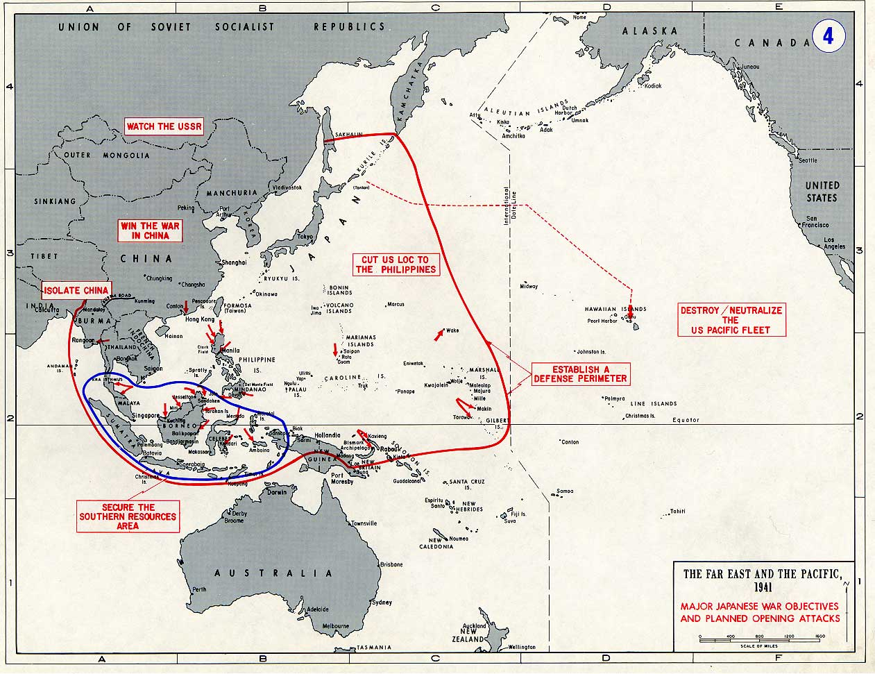 Battle map showing the area of the Far East and Pacific 1941 0A