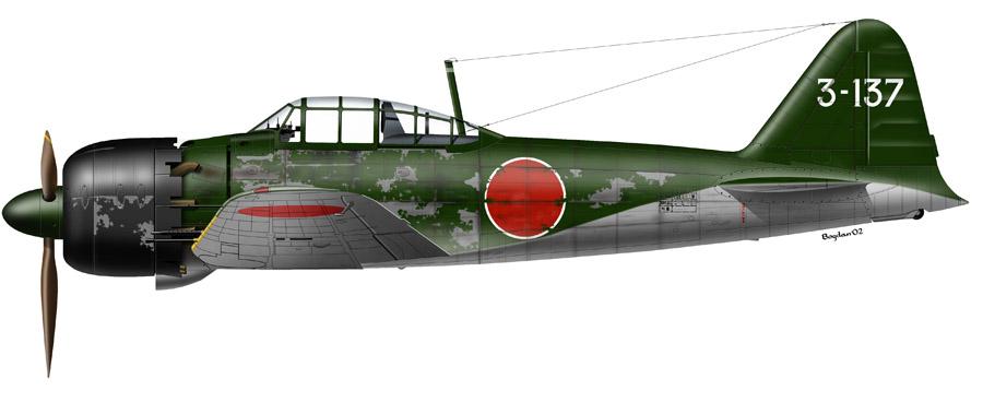 Mitsubishi A6M5 Zero JNAF Yokosuka Kaigun Kokutai 3 137 Saburo Sakai Japan 1945 0A