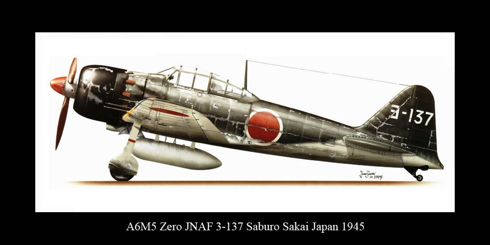 Mitsubishi A6M5 Zero JNAF Yokosuka Kaigun Kokutai 3 137 Saburo Sakai Japan 1945 0B