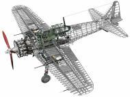 Asisbiz Artwork technical drawing of Mitsubishi A6M3 Zero cut away 0A