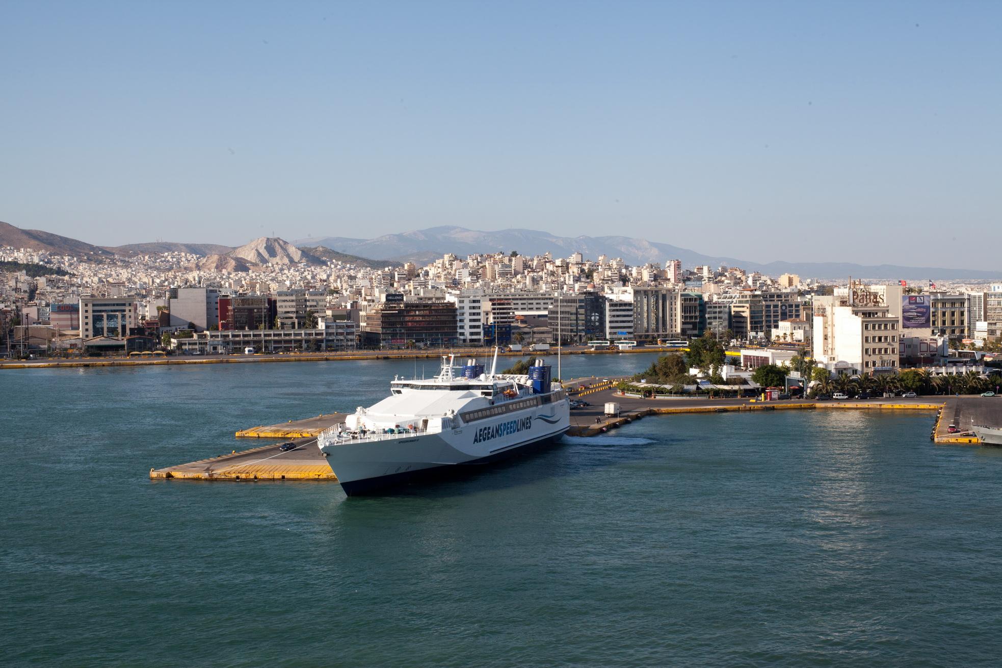 MS Speedrunner III IMO 9141871 Aegean Speed Lines docking Piraeus Port of Athens Greece 02