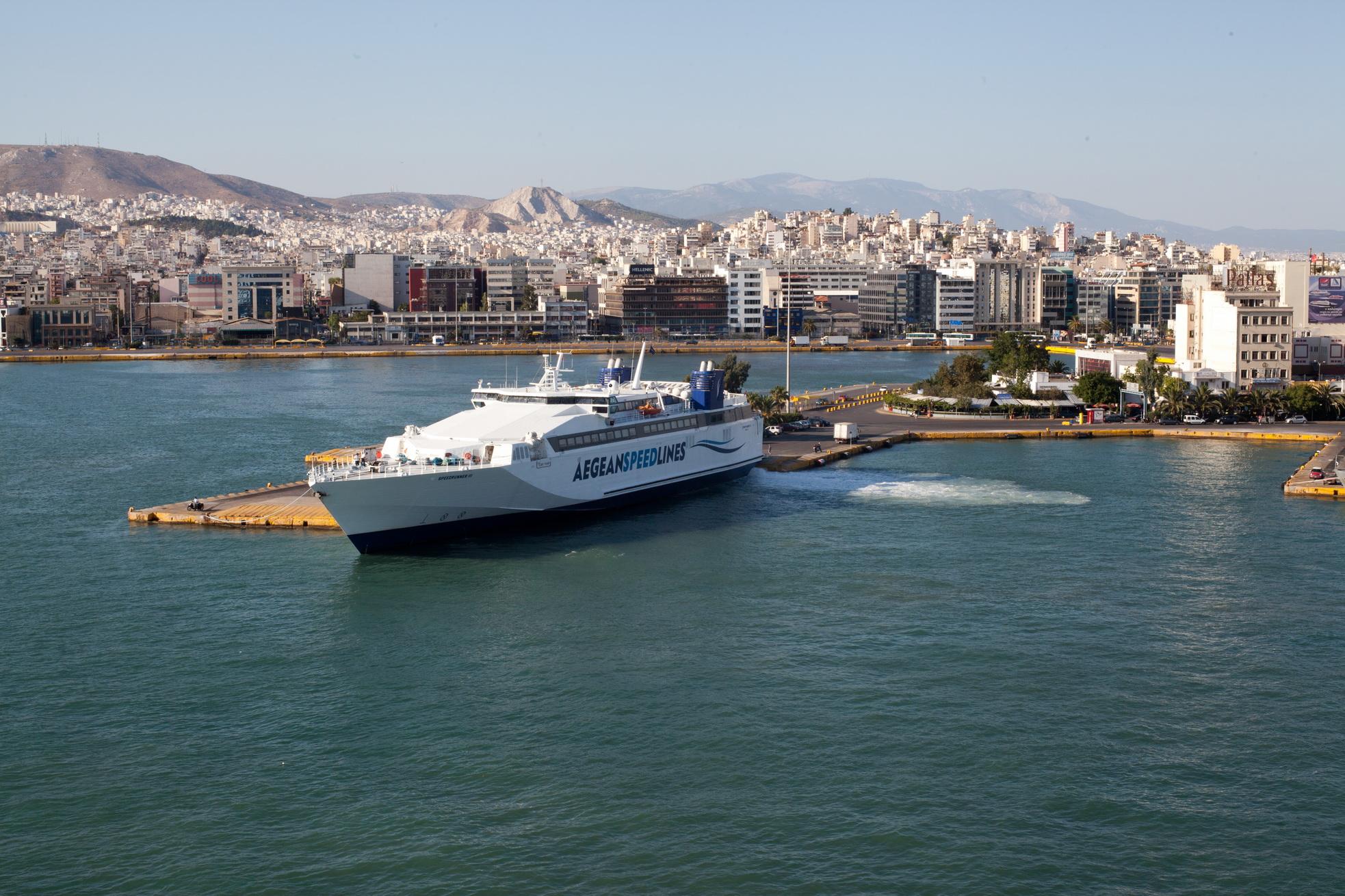 MS Speedrunner III IMO 9141871 Aegean Speed Lines docking Piraeus Port of Athens Greece 04