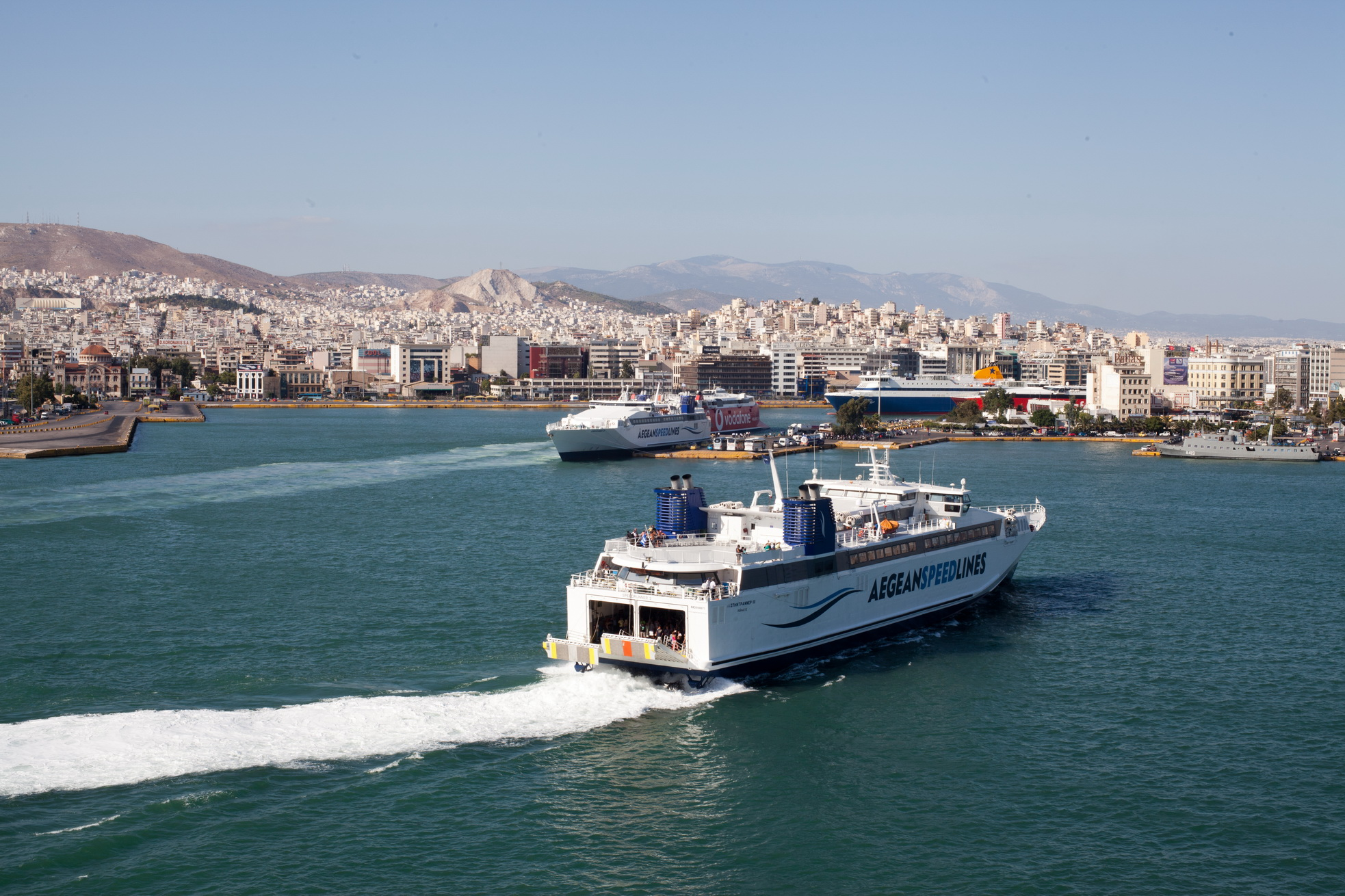 MS Speedrunner III IMO 9141871 Aegean Speed Lines entering Piraeus Port of Athens Greece 03
