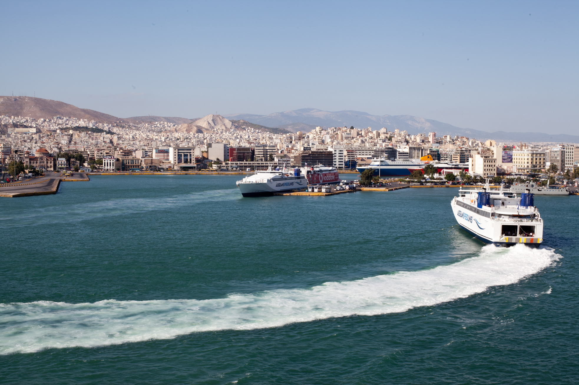 MS Speedrunner III IMO 9141871 Aegean Speed Lines entering Piraeus Port of Athens Greece 05