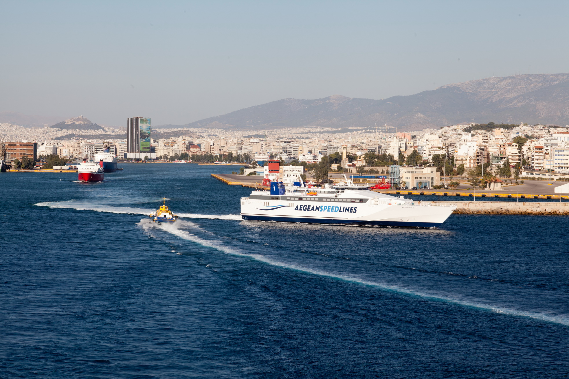 MS Speedrunner III IMO 9141871 Aegean Speed Lines leaving Piraeus Port of Athens Greece 01