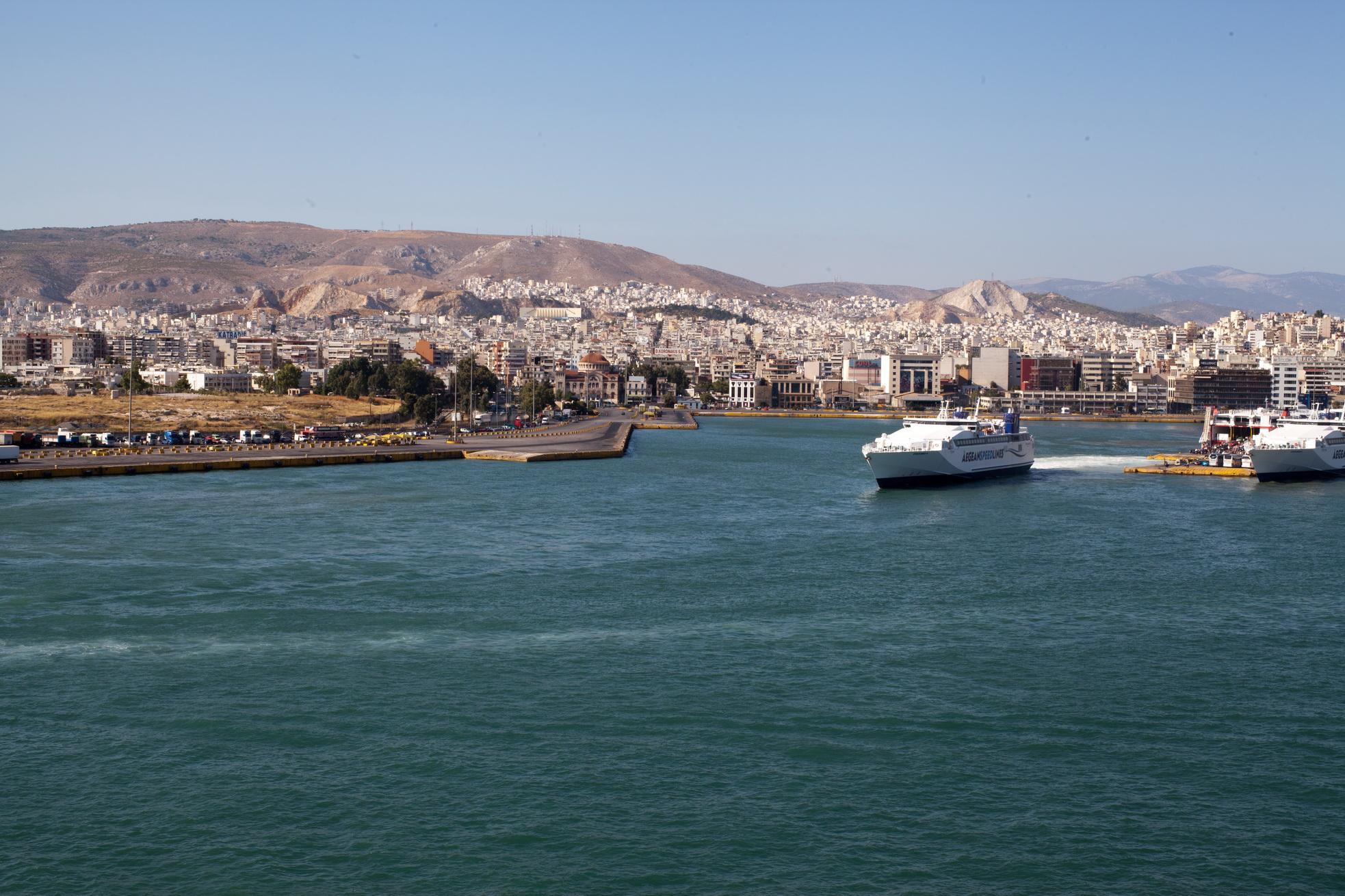 MS Speedrunner IV IMO 9141883 Aegean Speed Lines leaving Piraeus Port of Athens Greece 01