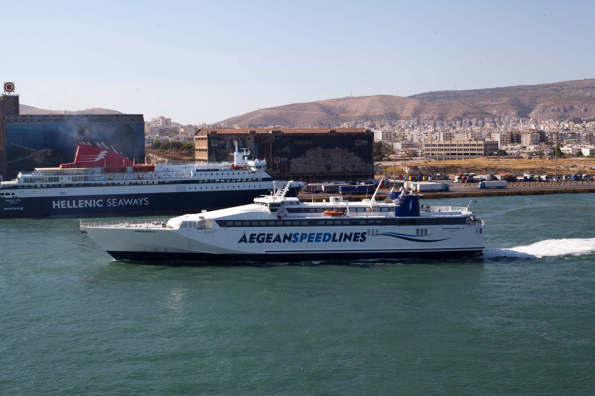 MS Speedrunner IV IMO 9141883 Aegean Speed Lines leaving Piraeus Port of Athens Greece 04