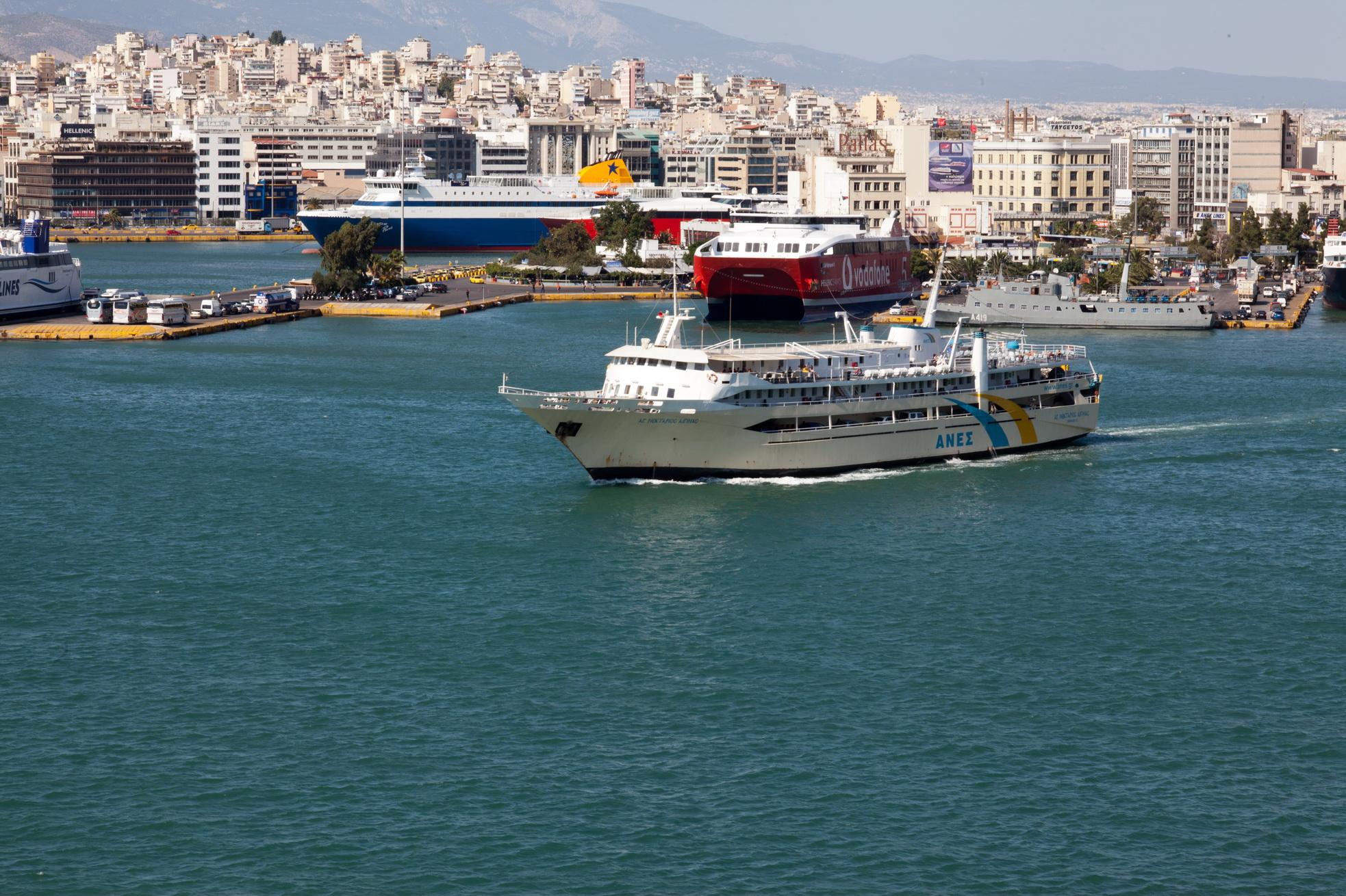 MS AG Nektarios IMO 8969343 Anes Ferries leaving Piraeus Port of Athens Greece 01