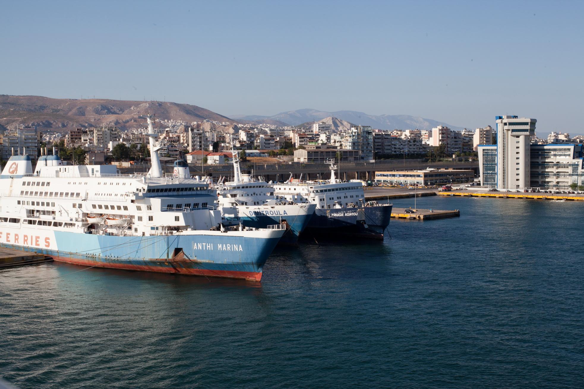 MS Anthi Marina IMO 7820473 and Dimitroula IMO 7602156 GA Ferries docked Piraeus Athens Greece 01