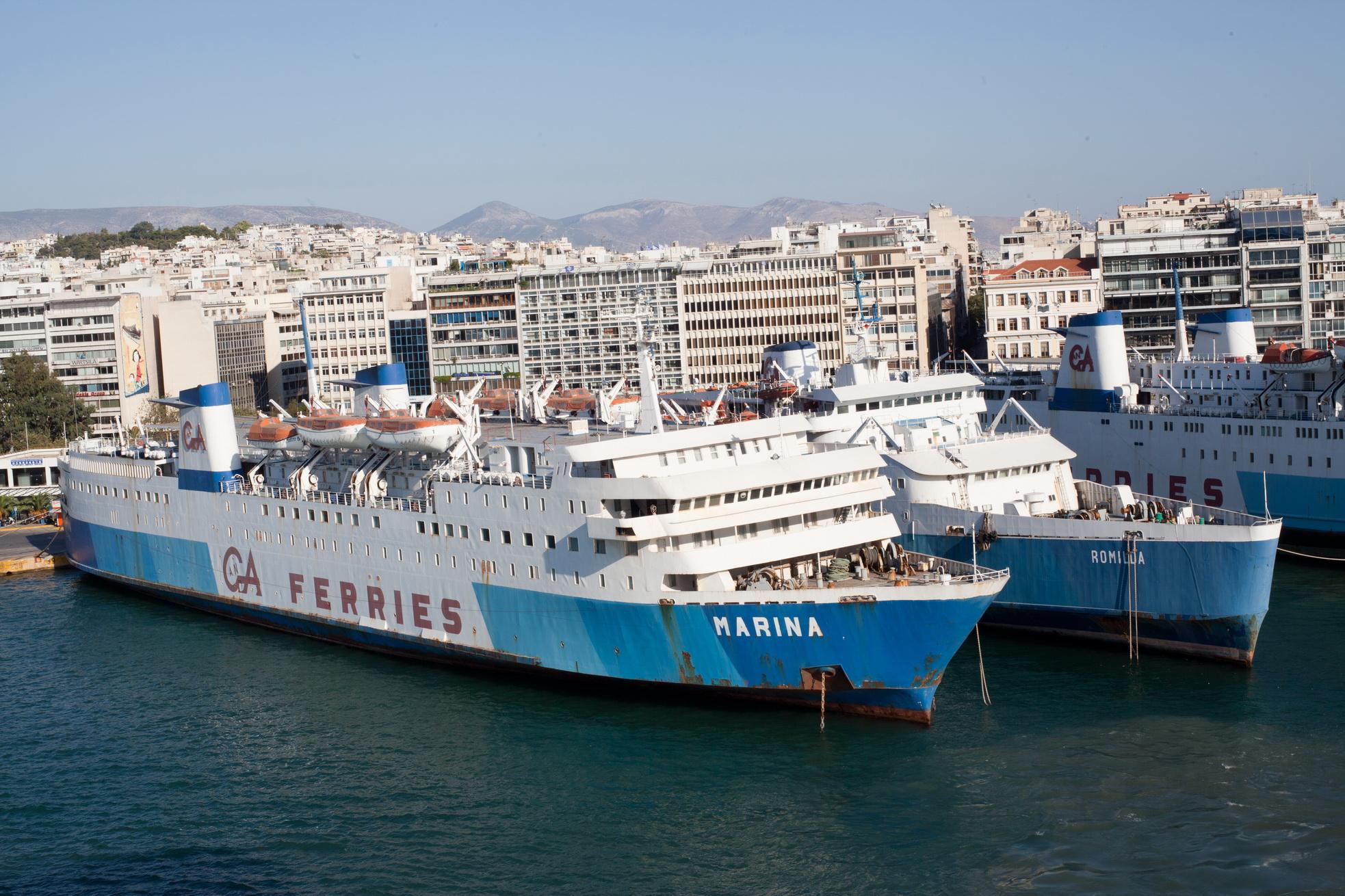 MS Marina IMO 7203487 and Romilda IMO 7368499 GA Ferries docked Piraeus Port of Athens Greece 01