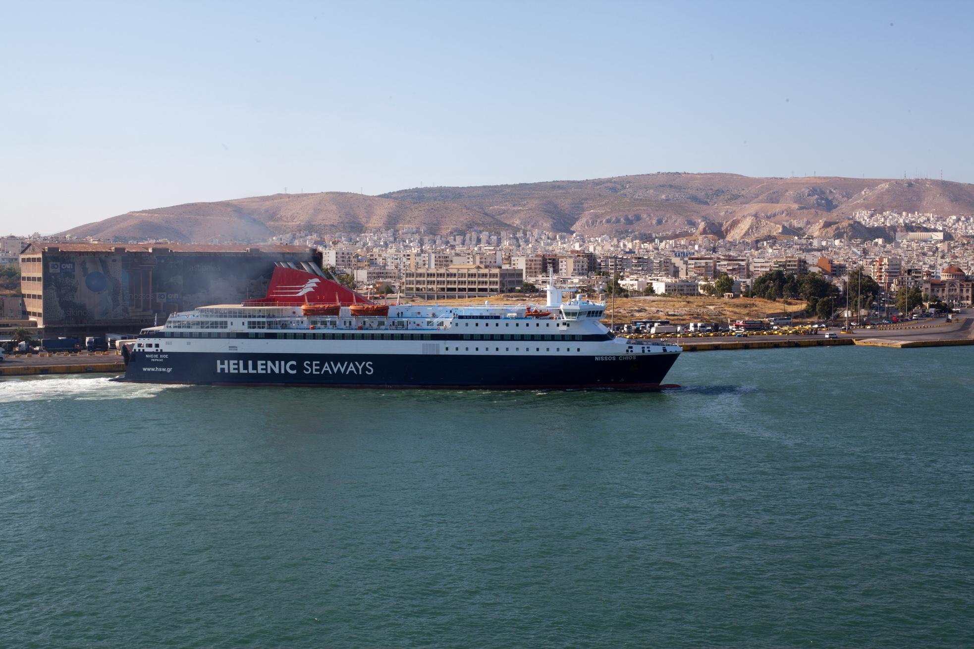 MS Nissos Chios IMO 9215555 Hellenic Seaways docking Piraeus Port of Athens Greece 04