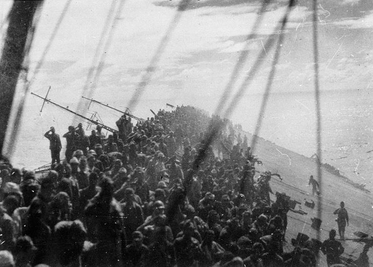 Archive photos showing the sinking of Japanese aircraft carrier Zuikaku Battle of Leyte Gulf 25th October 1944 02